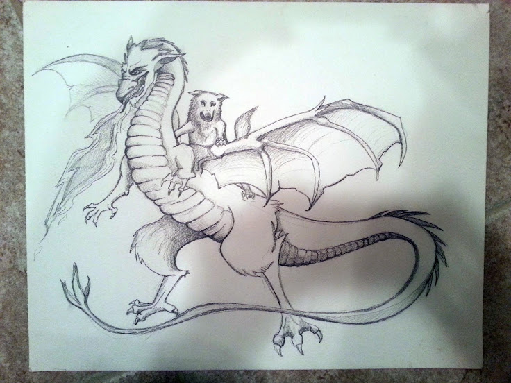 Yeah, its a wolf riding a dragon. deal with it !